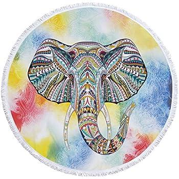 "Colorful Indian Elephant Microfiber Round Tassel Beach Towel-150"" x 150"""