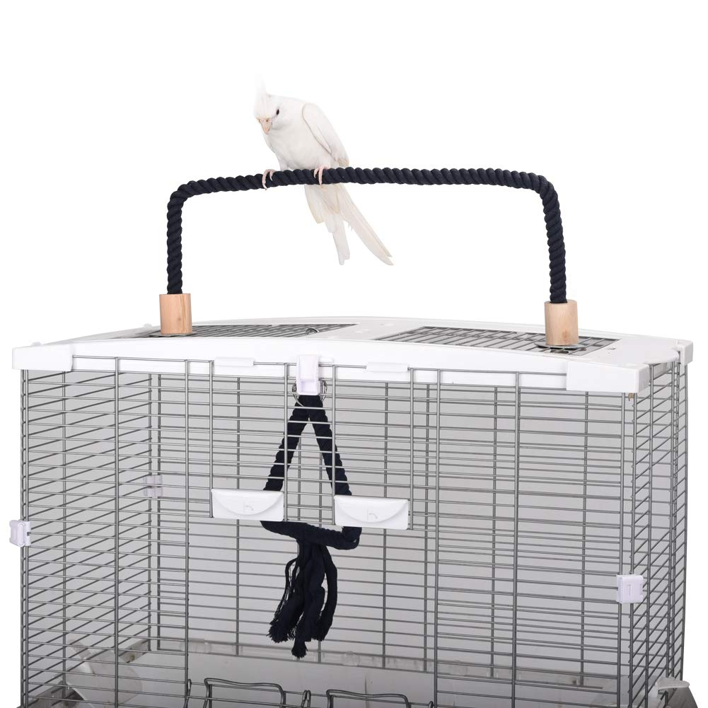 QBLEEV Bird Cage Rope Stands Conure Parrot Perches Swing Toys Play Set Birdcage Playground Play Gym Accessories for Parakeet Cockatiels Lovebirds African Grey(Cage not Included) by QBLEEV