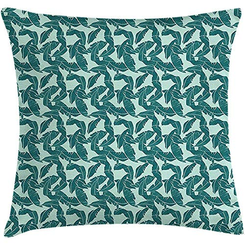Throw Pillowcase Pillow Cover Hawaii Cushion, Abstract Palm Leaves Pattern Exotic Caribbean Environment Simple Foliage, Decorative Square Accent Case, 18 X 18 inches, Almond Green and Teal