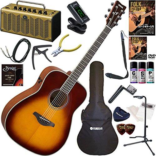 YAMAHA エレアコ 初心者 入門 ギターの生音にリバーブ、コーラスをかけられるトランスアコースティックギター レトロなデザインで多機能高音質のYAMAHA THR5Aが入ってる大人の19点セット FG-TA/BS(ブラウンサンバースト)  BS(ブラウンサンバースト) B0792N99FH