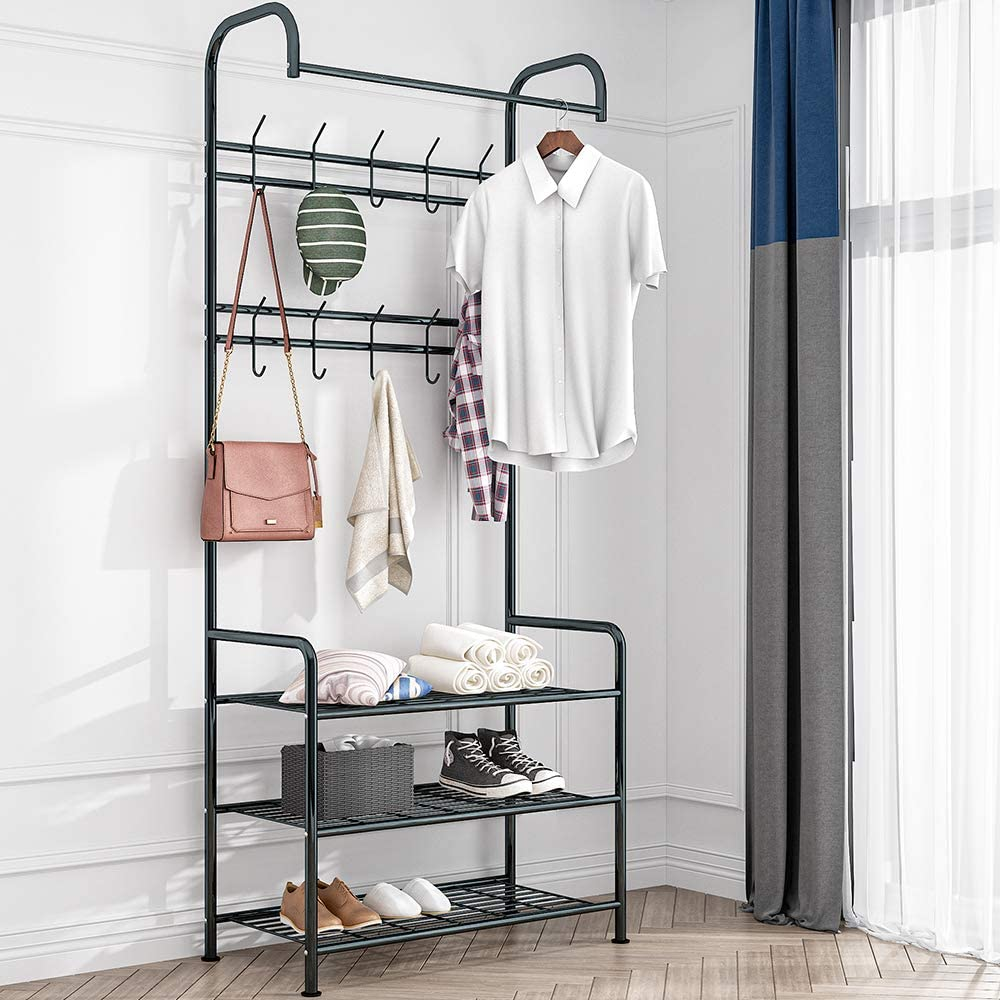 LENTIA Multifunctional Metal Coat Rack Hall Stand Shoes Rack with 3 Shelves for Clothes, Hats, Bags, Shoes, Umbrallas, Black, 185cm (Black, Metal)