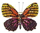 Multicolor Jeweled Butterfly Brooch Pin 1.5'' with Crystal Accents (Orange & Red)