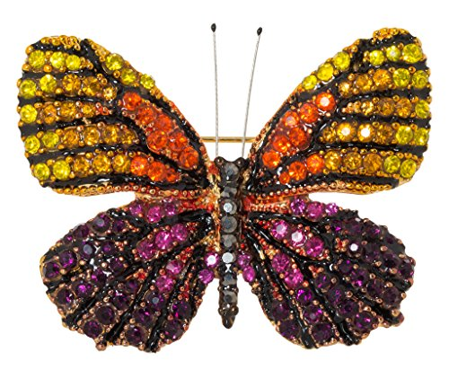 Multi Color Butterfly Brooch (Multicolor Jeweled Butterfly Brooch Pin 1.5