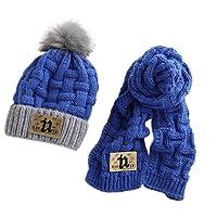 Yiwa Kids Children Thicken Pom Pom Plush Ball Hat Scarf Set Fall Winter Warm Knitting Head Wear Set