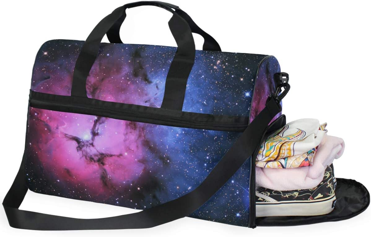 FAJRO Gym Bag Travel Duffel Express Weekender Bag Red And Blue Light Galaxy Pattern Carry On Luggage with Shoe Pouch