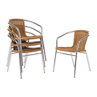 Bolero u422 silla de mimbre con marco de aluminio, Natural ...