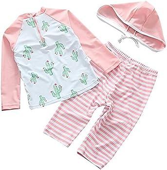 4e86d4d434 3pcs Cactus Swimsuit UV Sun Protective Long Sleeve Bathing Suit Rash Guards  UPF 50+ for Kids Baby Girls