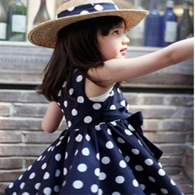 4f1065a976 Amazon.com  Lurryly 2018 Baby Girls Kids Children Clothing Polka Dot  Chiffon Sundress Cute Summer Dress  Clothing