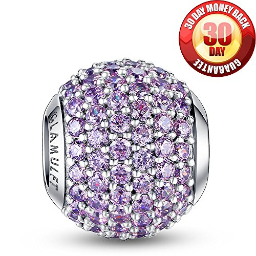 - Glamulet 925 Sterling Sliver Lucky Birthstone Paved Crystal Charms Beads Fits Bracelet, June Emerald Pink, Ideal Jewelry Gifts for Lover, Women, Mom, Wife, Girls