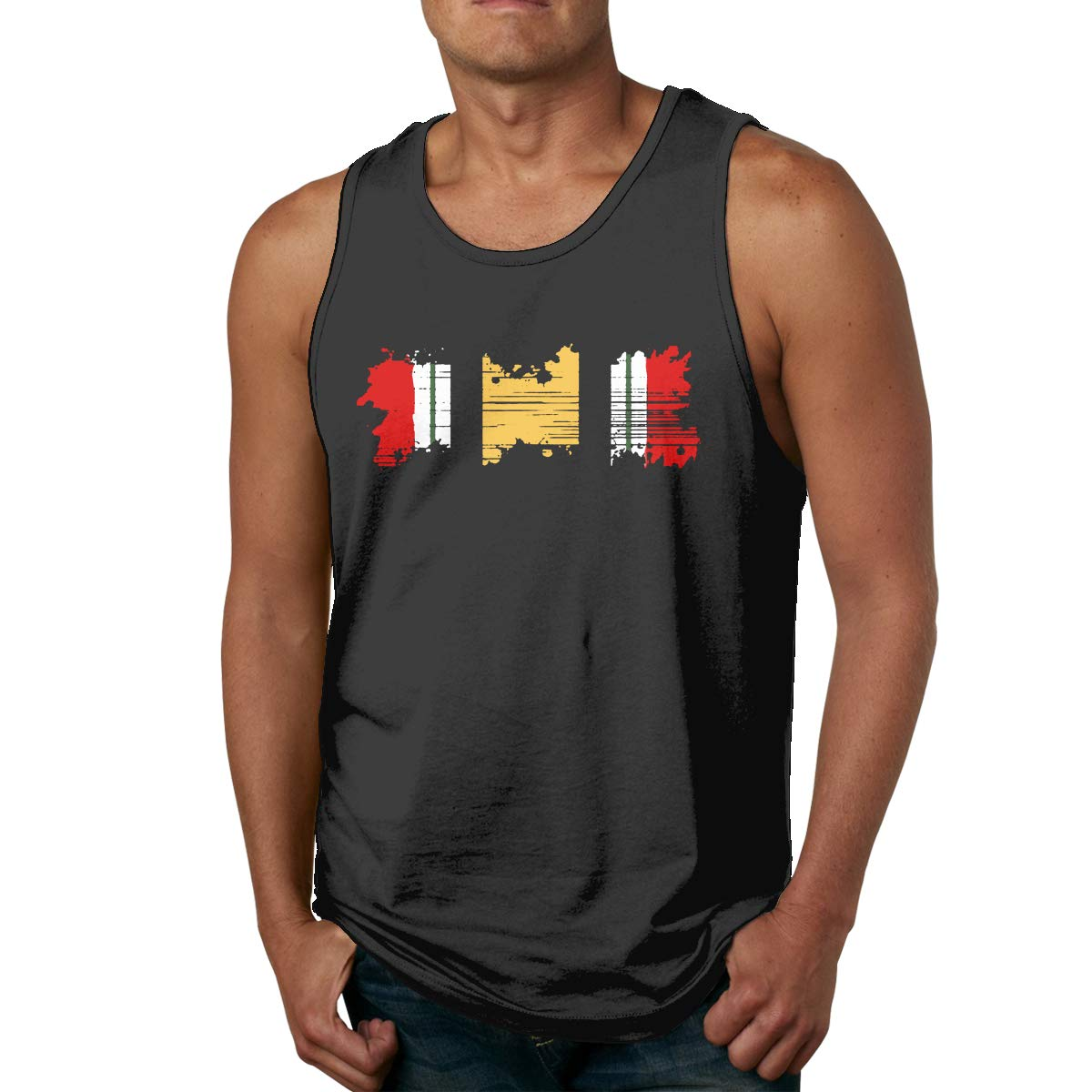 LLXM Iraq Campaign Medal Ribbon Veteran Mens Printed Vest Sports Tank-Top T Shirt Leisure Shirt Sleeveless Shirts