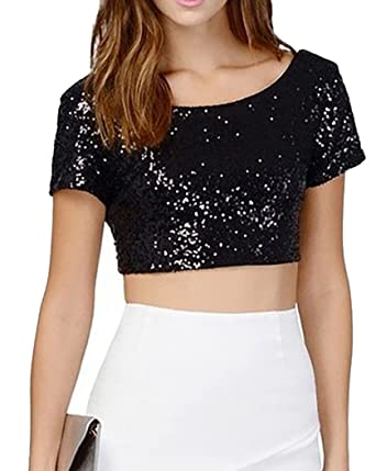 e9f2a339ccea Women's Glitter Sequins Backless Crop Tops Solide Colors Short Sleeve T- shirt XS Black