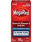 MegaRed 750mg Ultra Concentration Omega-3 Krill Oil - No fishy burps as will Fish Oil, 40 softgels