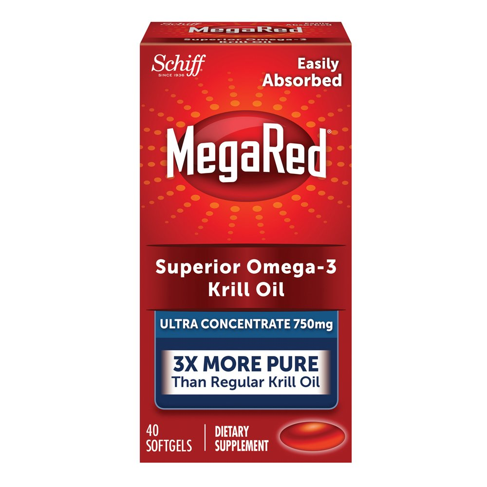 MegaRed 750mg Ultra Concentration Omega-3 Krill Oil - No fishy aftertaste as with Fish Oil, 40 softgels
