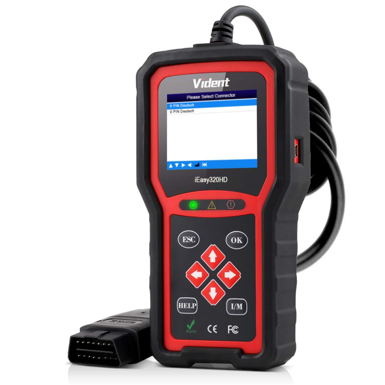 VIDENT iEasy320HD EOBD OBD2 Code Reader Check Engine, Transmission, Brake, Fuel Scan Tool for Heavy Duty Trucks & Cars 2 in 1 OBDII Scanner