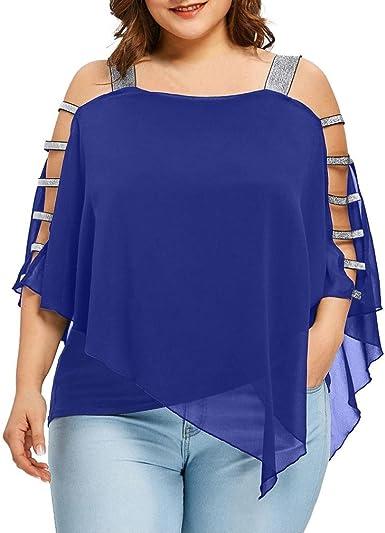 CICIYONER Blusa Mujer Talla Grande, Camiseta Hombros Descubiertos Camisetas Tallas Grandes Mujer (Azul, 44(Etiqueta XL)): Amazon.es: Ropa y accesorios