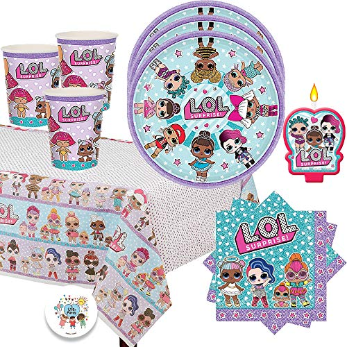 L.O.L Surprise Birthday Party Pack for 16 with Plates, Napkins, Cups, Tablecover, Candle and EXCLUSIVE Birthday Pin by Another Dream!]()