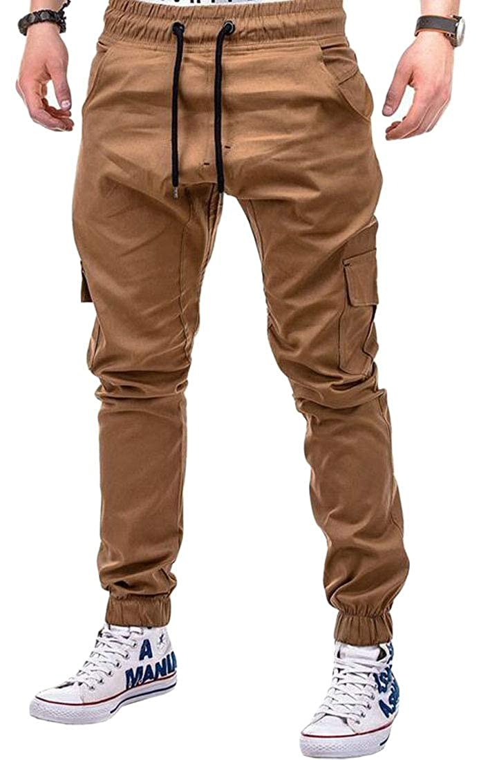 Jotebriyo Mens Plus Size Solid Color Jogger Trousers Multi-Pockets Sweatpants Pants Trousers