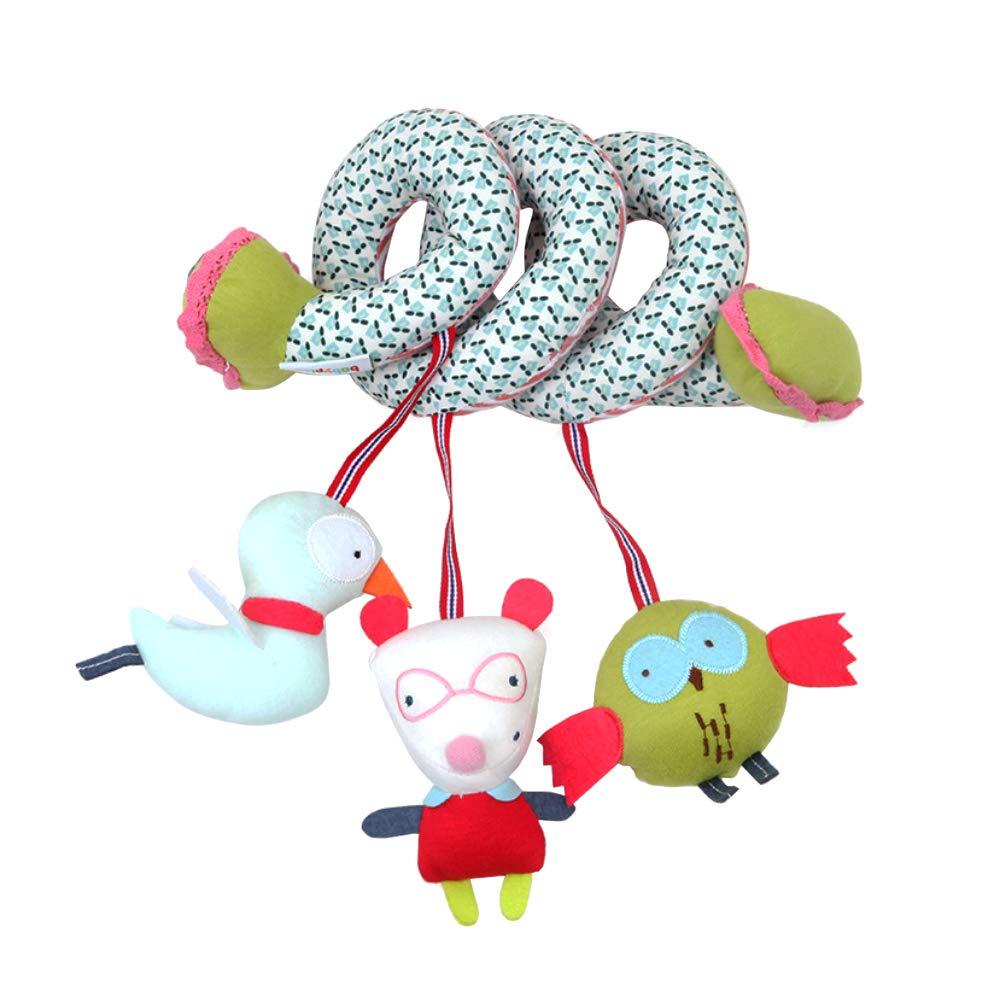 Xiton Peluche Hochet Cartoon Poussette Hanging Hochet Spirale Enroulable Berceau Lit Mobile d/éveloppementale Toy 1pc