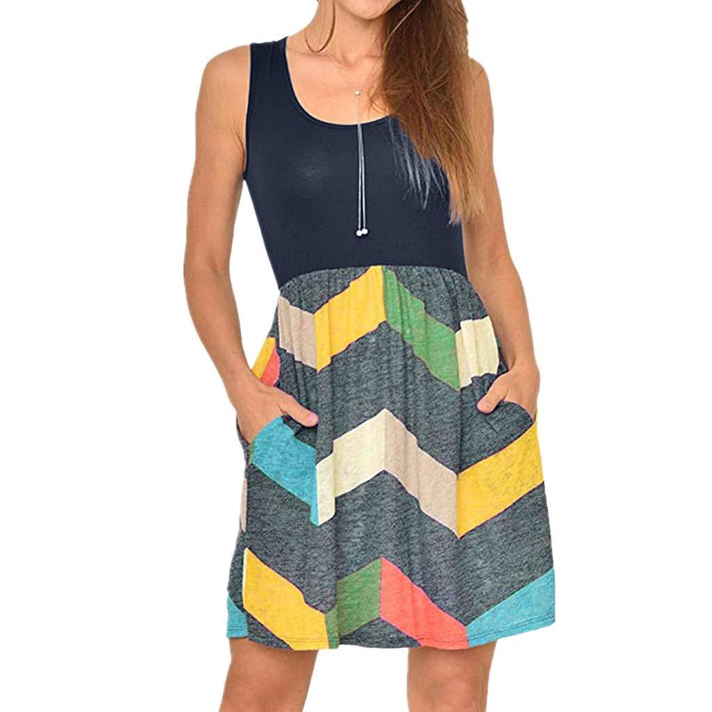 kanyankeji Casual Sleeveless Dress Boat Neck Boho Print with Pocket Swing Dress Yellow