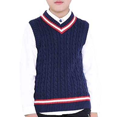 Amazon.com: Kids V Neck Knit Sweater Vest Crafeel Pullover Chunky ...