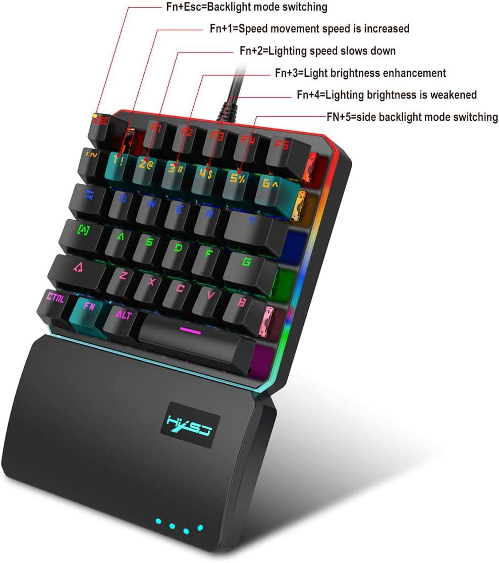 Fewao Custom Wired Backlit Mechanical Feel Gaming Keyboard and Mouse Set for PS4//PS3//xbox One//Switch