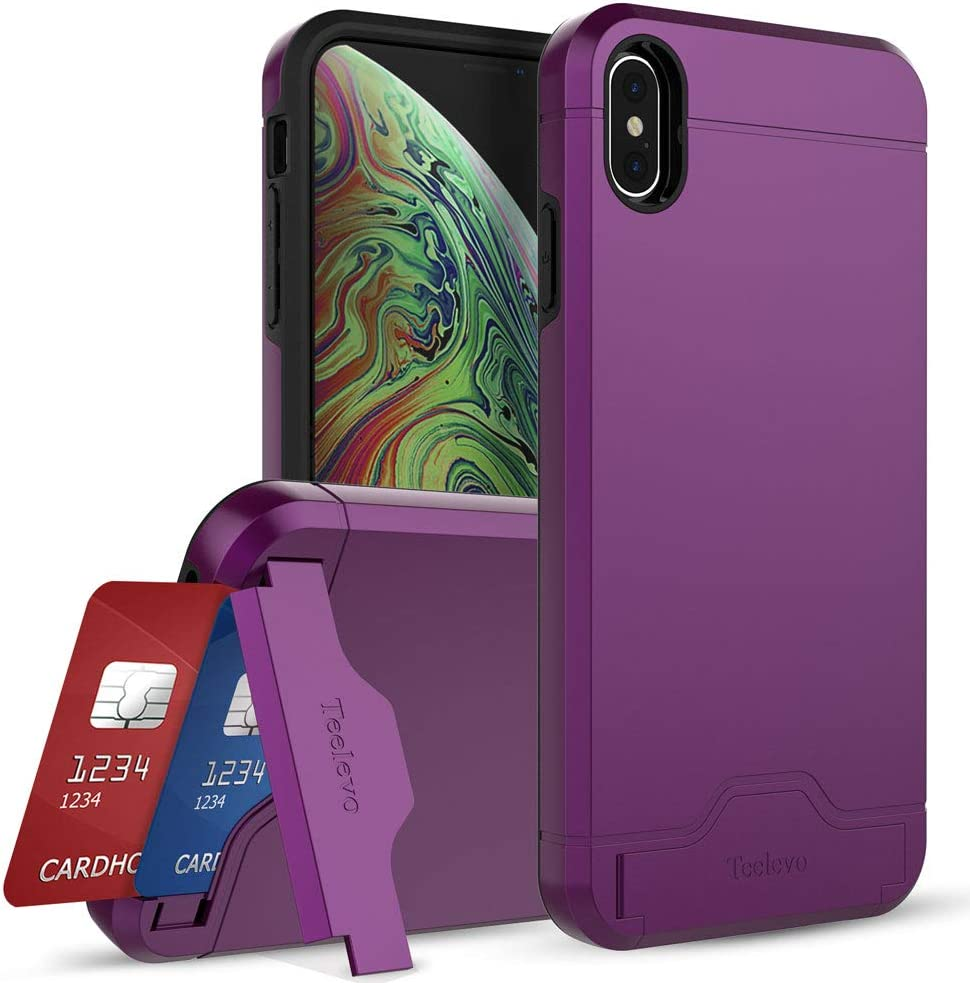 Teelevo Wallet Case for Apple iPhone Xs Max (2018) with Card Slot Holder and Kickstand - Purple