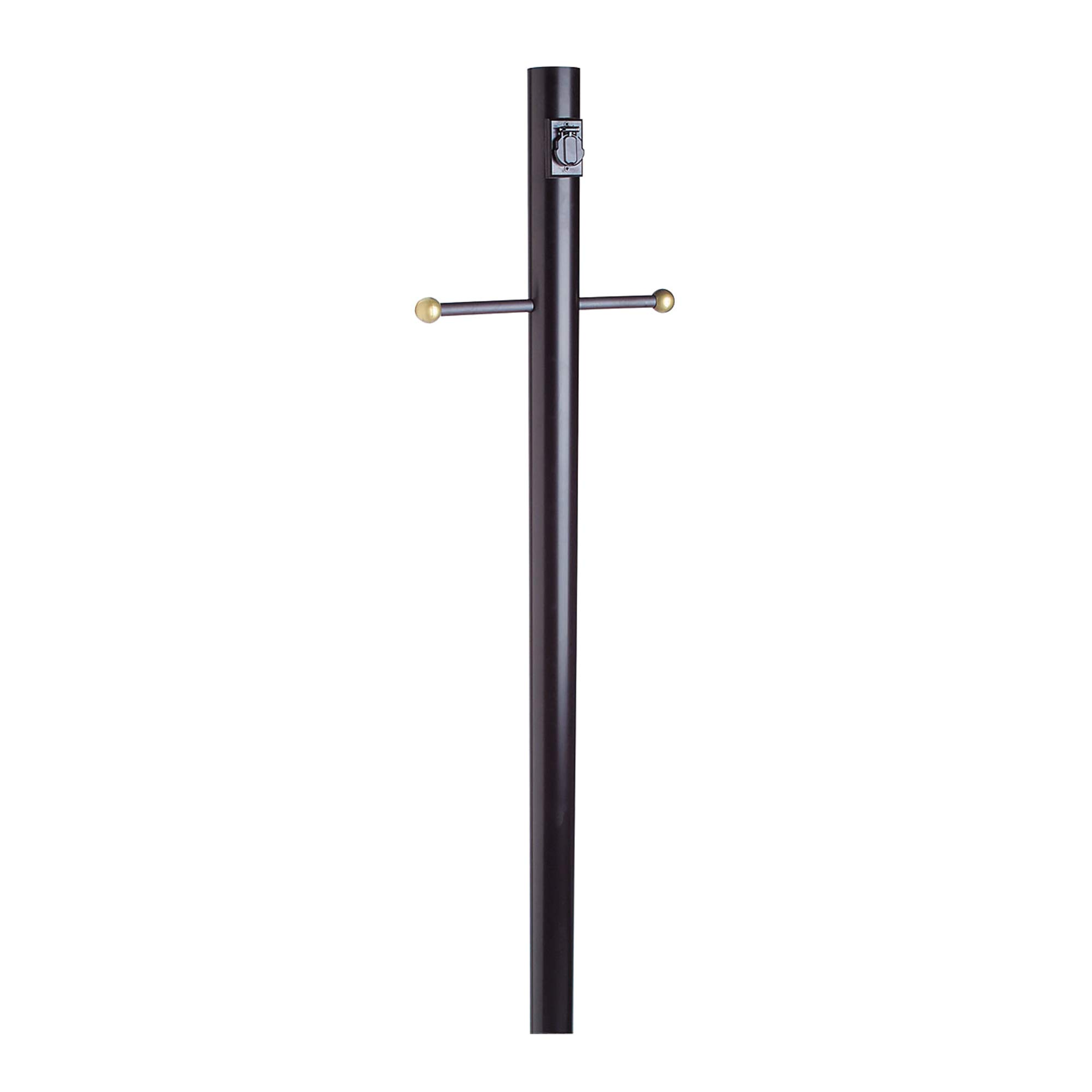 Design House 579714 Outdoor Lamp Post with Cross Arm and Outlet, Black