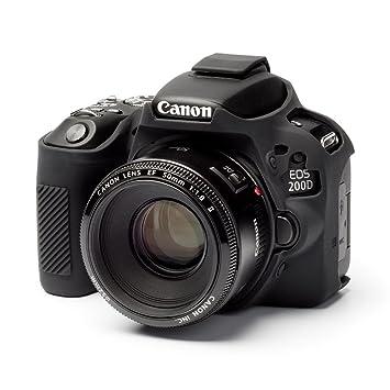 EasyCover - Carcasa para Canon 200d/SL2 Cámara, Negro ...