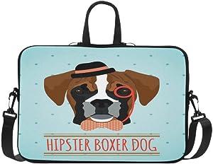 "Funny Hipster Animal Laptop Sleeve Collection Hipster Boxer Dog Portable Laptop Sleeve Case Neoprene Laptop Case,Carry Case,Laptop Bag,Messenger Bag for 15.4"" 15.6"" Dell/HP/Samsung/MacBook"