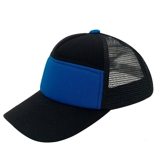 c58fe7f27fd Plain Kids Baseball Cap Youth Mesh Trucker Blank Cap Adjustable Snapback  (Black Blue)