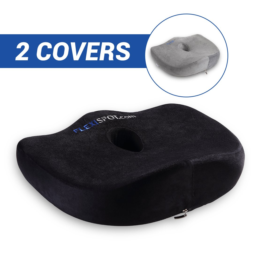 Flexispot 100% Pure Memory Foam Luxury Comfort Coccyx Seat Cushion Mat Ergonomic Orthopedic Design to Relieve Back, Sciatica and Tailbone Pain for Office Home Car Chair Wheelchair Use