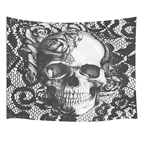 JAWO Skull Decor Tapestry Wall Hanging, Vintage Skull Rose Flower, Polyester Fabric Wall Tapestry for Home Living Room Bedroom Dorm Decor 80W X 60L Inches