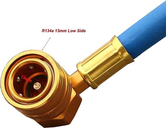 R-134a a R-12//R-22 Wisepick R134A Kit de manguera de carga de refrigerante de CA para coche manguera de recarga herramienta simple fre/ón con man/ómetro grifo con man/ómetro