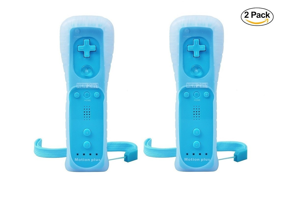 LION FISH - Motion Plus Remote Controller (2 Packs) for Nintendo Wii Video Game Gamepads. (Blue)