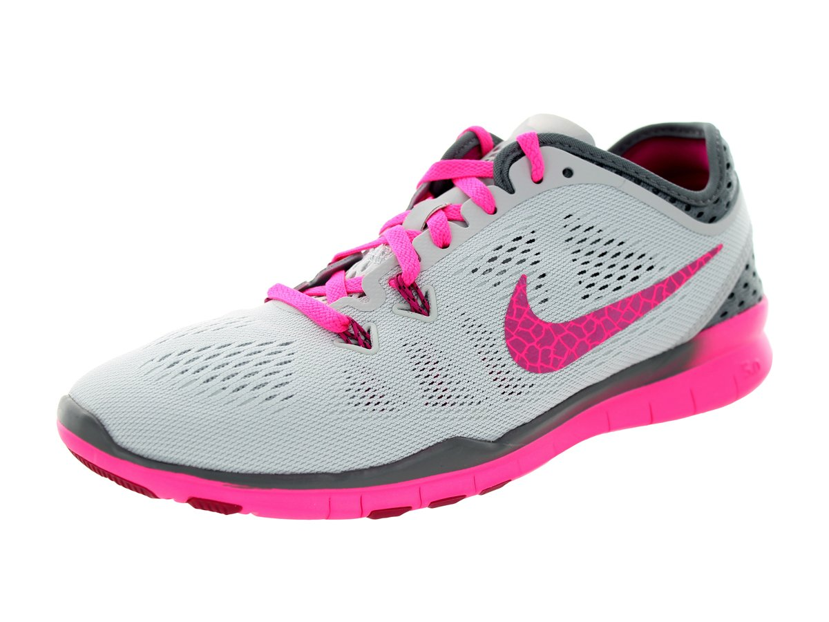 0464d47058a0 Galleon - Nike Women s Free 5.0 TR Fit 5 Breathe Training Shoe  Platinum Grey Pink Fireberry Size 10 M US