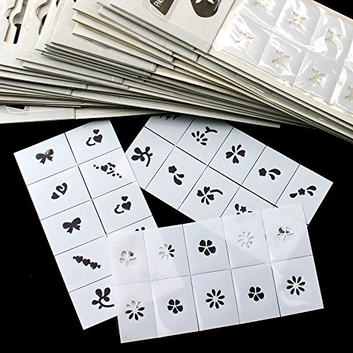 30pcs Pattern Template Stencil Stickers Set Airbrush Stencils Nail Art Design for Fingers & Toes (30pcs) (Nail Sets Stencil Airbrush)