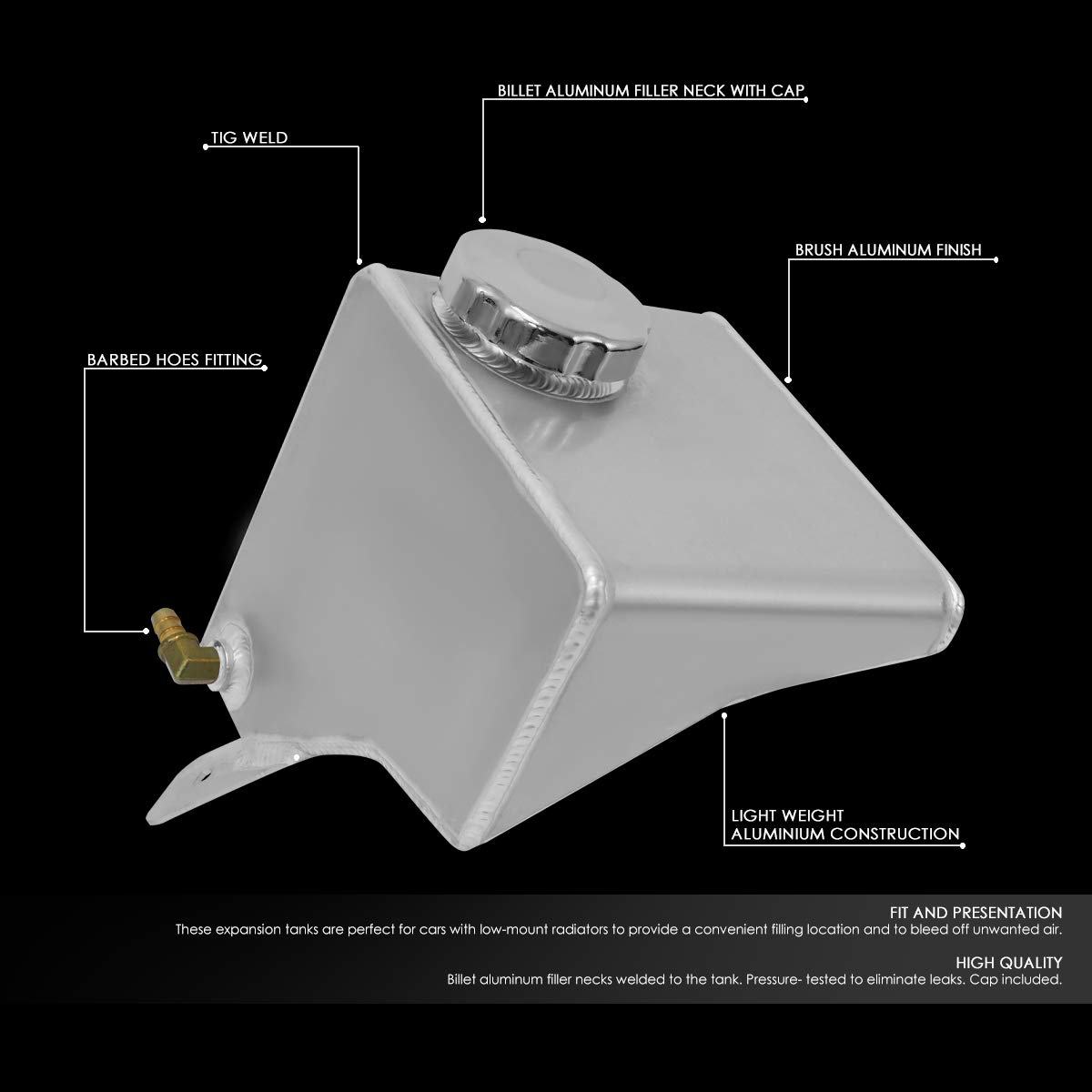 DNA Motoring TANK-COL-016 Aluminum Coolant Expansion Recovery Fill Tank