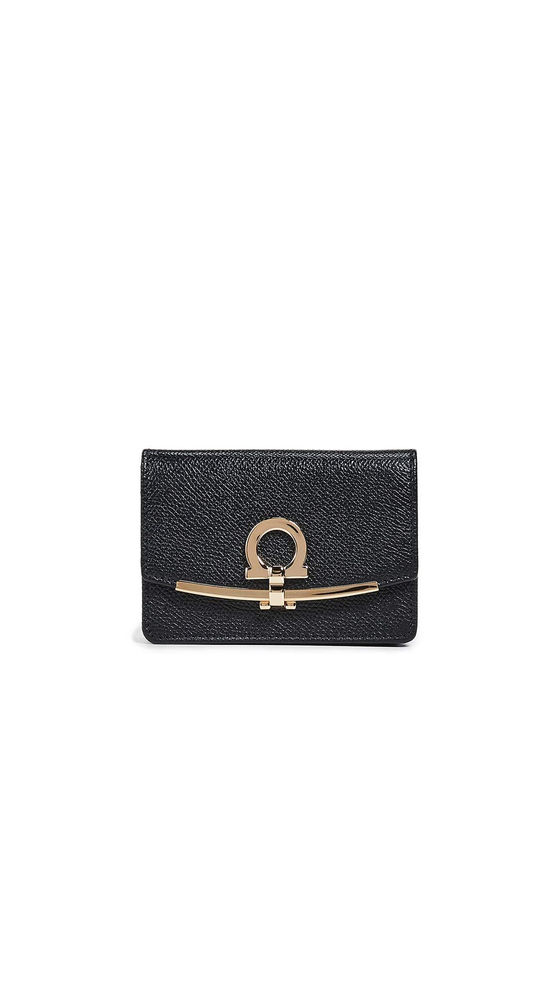 Salvatore Ferragamo Women's Gancio Clip Card Case, Nero, Black, One Size
