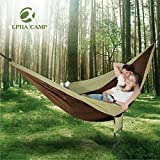 ALPHA CAMP Double Camping Hammock Parachute Hammock with Tree Straps Ultralight Portable for Backpacking Travel Hiking Beach Yard, Khaki For Sale