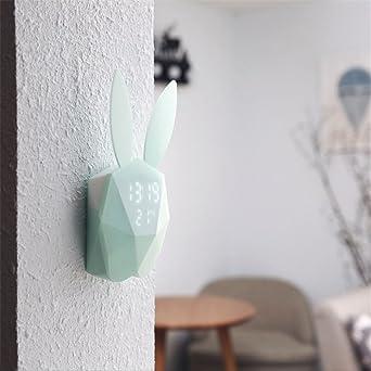 Luz nocturna, termómetro digital reloj despertador con diseño de conejo batería cuadro pared relojes Bule