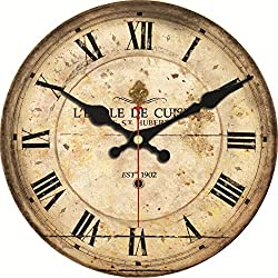 ShuaXin Large Wooden French Country Style Antique Brown Wall Clocks,14 Inch Quartz Movement Silent Non Ticking Quiet Battery Operated Round Wall Clock
