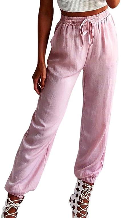 Mounter Pantalones De Yoga Para Mujer Cintura Alta Sueltos Elasticos Para Fitness Deporte Pantalon Deportivo Tela Rosa Xl Waist 27 6 39 4 Amazon Es Hogar