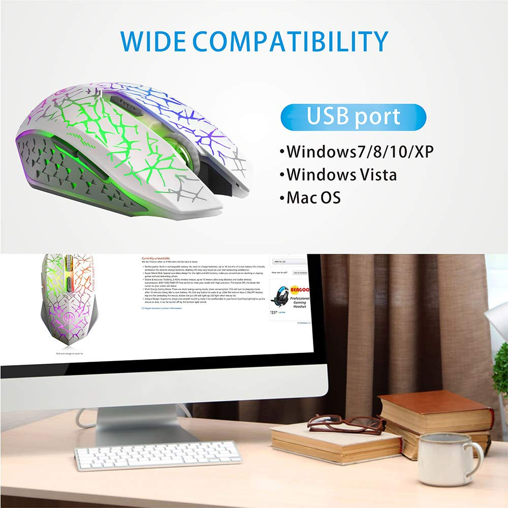 3 Adjustable DPI Level and 6 Buttons Rechargeable Silent LED Optical Computer Mice with USB Receiver Auto Sleeping Compatible Laptop//PC//Notebook White TENMOS K6 Wireless Gaming Mouse