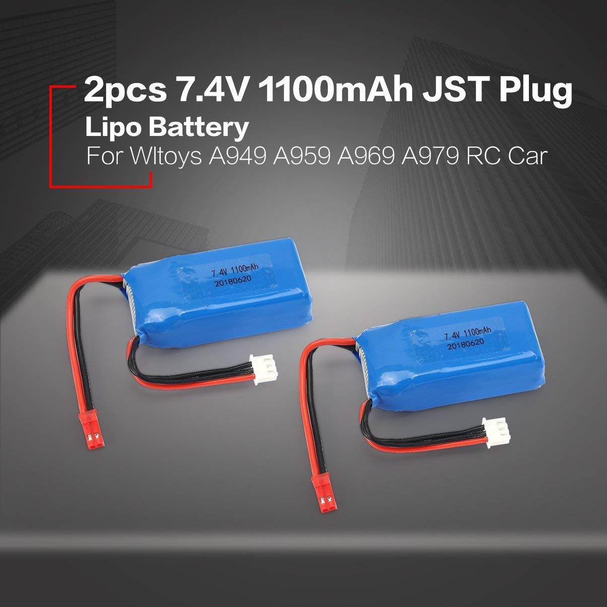 JullyeleFRgant 2pcs 7.4V 1100mAh 25C 2S Lipo Battery JST Plug Rechargeable for Wltoys A949 A959 A969 A979 RC Car Airplane Drone