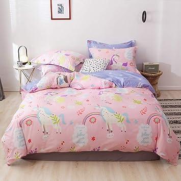 OTOB Unicorn Duvet Cover Twin Bedding Sets Cotton Pink for Girls Kids  Toddler Woman Children Princess Cartoon Animal Reversible Floral Teen  Bedding ...