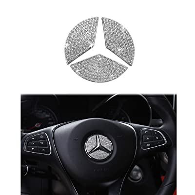 1797 Compatible Steering Wheel Logo Caps for Mercedes Benz Accessories Parts Emblem Badge Bling Decals Covers Interior Decorations W205 W212 W213 C117 C E S CLA GLA GLK Class Crystal Silver 49mm 3pcs: Automotive