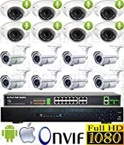 USG Sony DSP 16 Camera 1080p 2mp IP PoE Audio CCTV Kit: 1x 24 Ch 5MP NVR + 8x 3.6mm Dome w/ Mic. + 8x 2.8-12mm Auto-Focus & Remote Zoom Bullet + 1x 18 Port PoE Switch + 1x 4TB HD Apple Android App