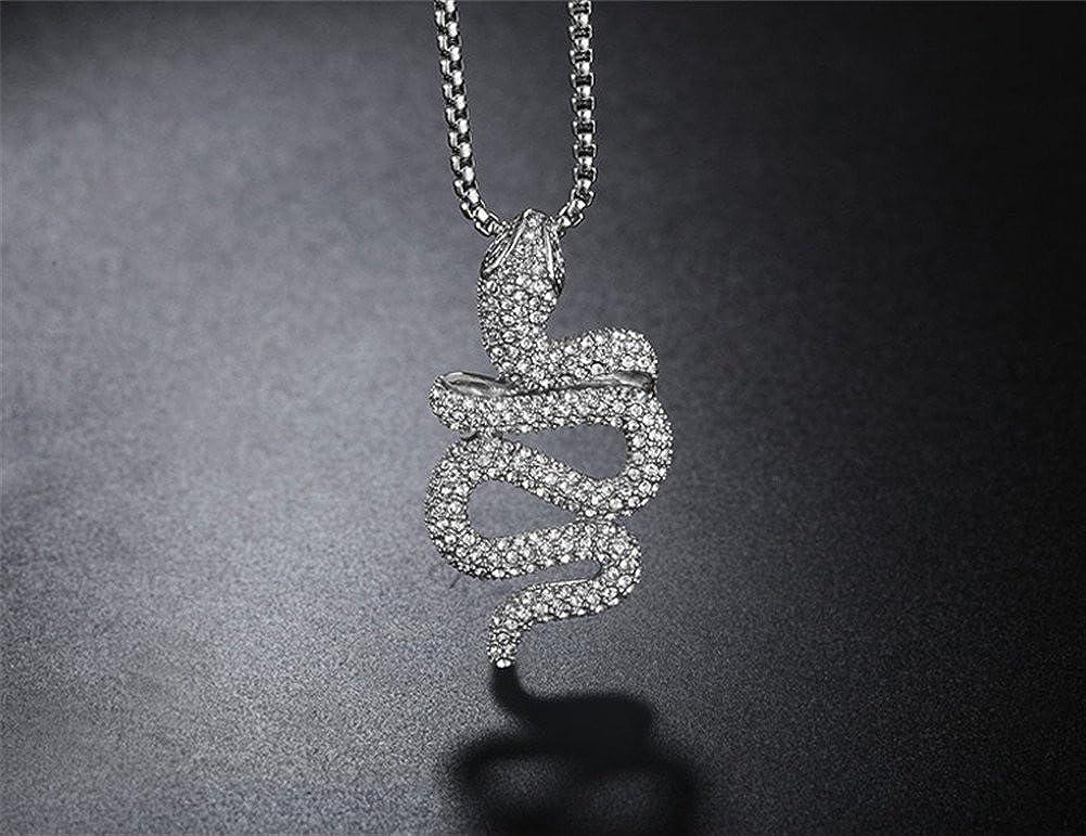 PAURO Herren Edelstahl Diamant CZ Tier Schlange Anh/änger Charm Halskette mit Kette 24