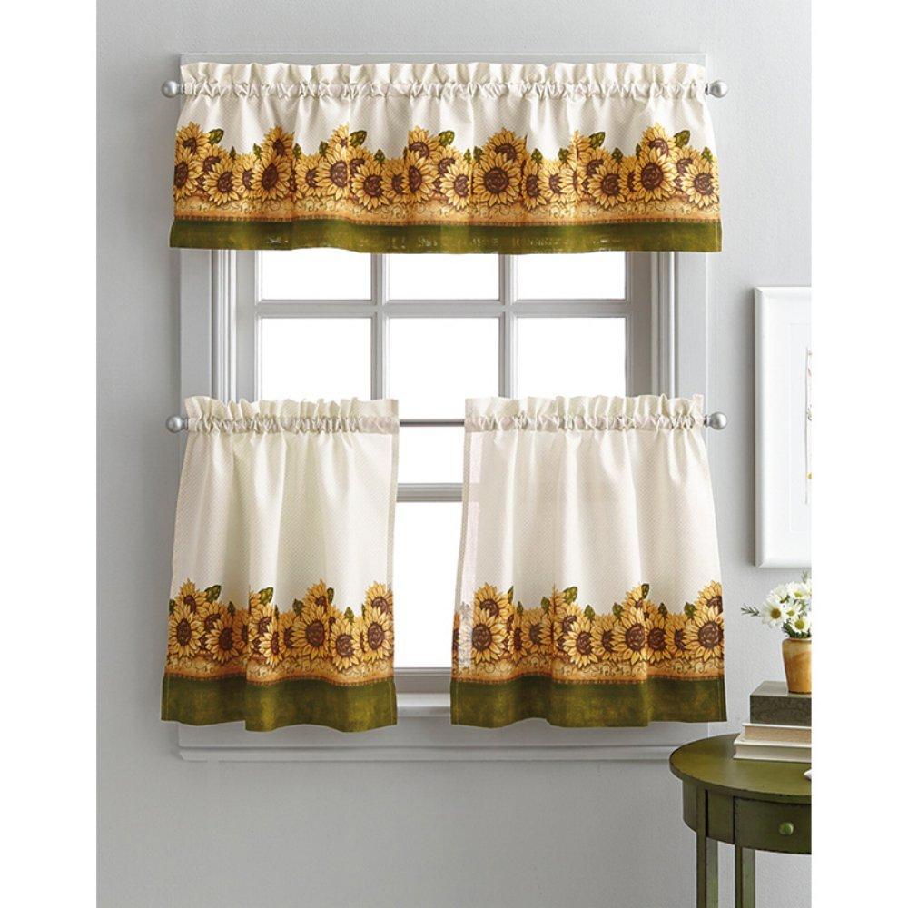 Curtainworks Sunflower Garden 36 in. Curtain Tier Set
