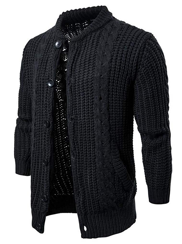 Bstge Mens Casual Band Collar Cable Knitted Button Down Sweater
